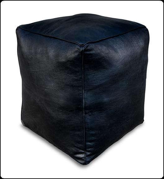 poef leer en vierkant in de kleur zwart