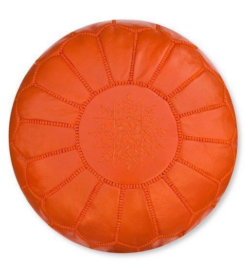 poef leer oranje