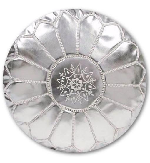 zilveren marokkaanse poef